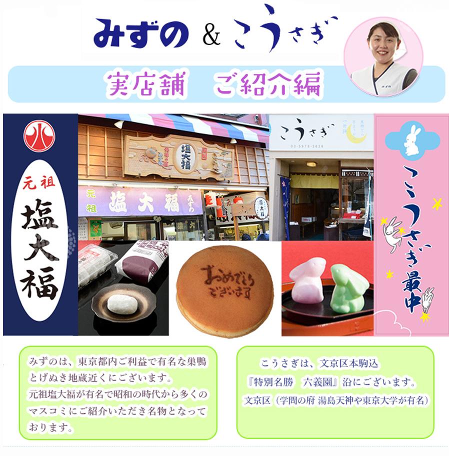 みずの こうさぎ 店舗紹介 「みずの」は東京都内ご利益で有名な巣鴨「とげぬき地蔵」高岩寺近くにございます。弊店は「元祖塩大福」で、多くのお客様にご愛顧いただいております。 駒込「こうさぎ」は、東京都 文京区 駒込の「特別名勝 六義園」沿いにございます。